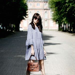 Zara Woman blue gingham dress